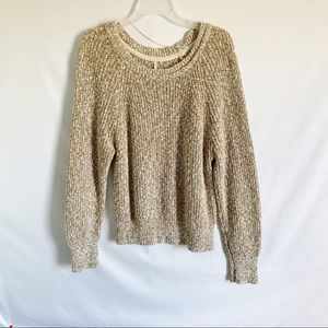 Free People Boho Slub Chunky Knit Sweater Top